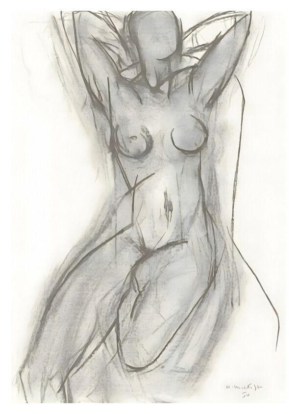 Nu dans Un Fauteuil, 1950 - Henri Matisse de AUX BEAUX-ARTS, Prodi Art, Matisse, dessin, crayon, noir et blanc