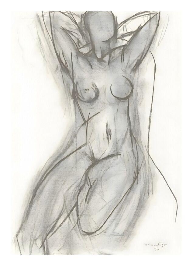 Nu dans Un Fauteuil, 1950 - Henri Matisse de AUX BEAUX-ARTS, Prodi Art, noir et blanc, crayon, dessin, Matisse