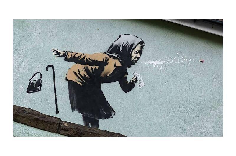 Aachoo!! - Banksy desde AUX BEAUX-ARTS, Prodi Art, Banksy, pintada, arte callejero, mujer, estornudar