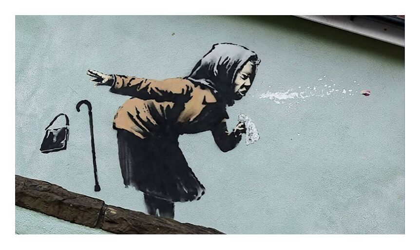 Aachoo!! - Banksy from AUX BEAUX-ARTS, Prodi Art, banksy, graffiti, street art, woman, sneezing