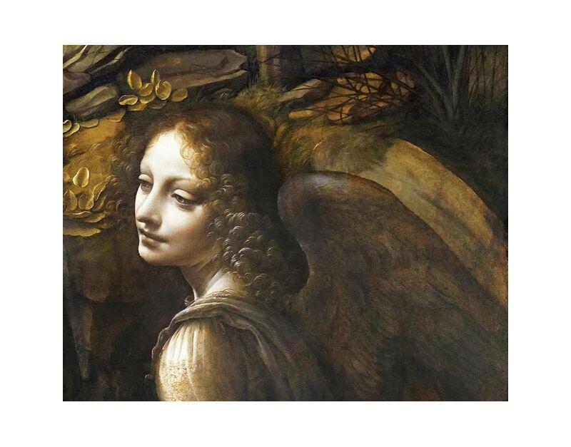 Détails de L'Ange, La Vierge des Rochers - Léonard de Vinci de AUX BEAUX-ARTS, Prodi Art, Leonard de Vinci, ange, peinture, portrait, ailes, femme, frisé