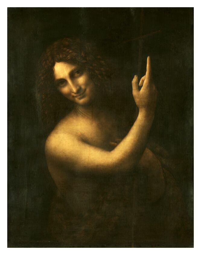Saint Jean Baptiste - Léonard de Vinci de AUX BEAUX-ARTS, Prodi Art, jésus, Christ, Dieu, prophète, peinture, Leonard da vinci, Renaissance