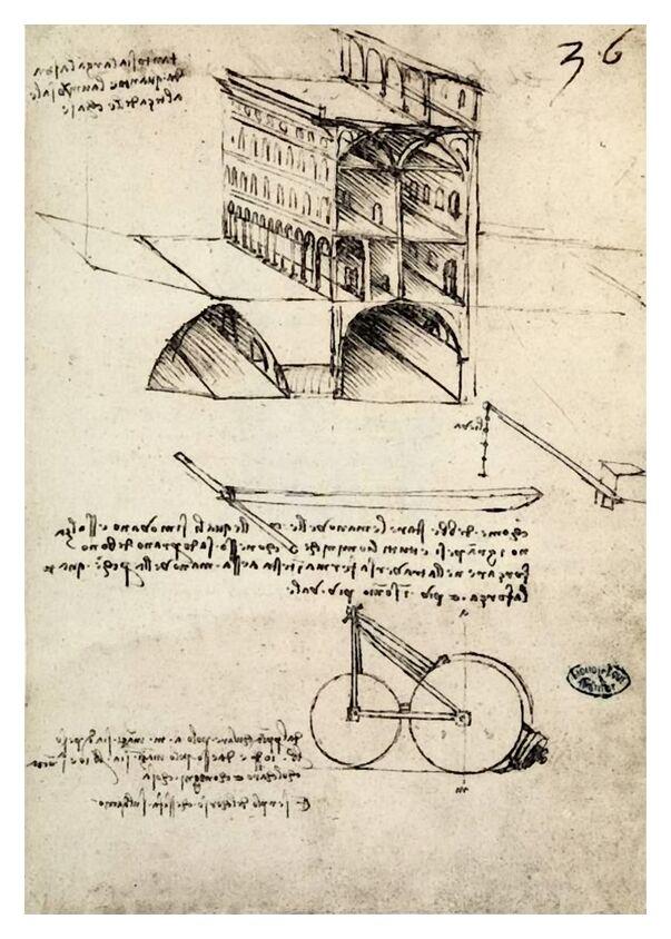 La Cité Idéale, Vue d'un Bâtiment, Logé à l'Institut De France, Paris - Léonard de Vinci de AUX BEAUX-ARTS, Prodi Art, épidémie, ville, dessin au crayon, dessin, Léonard de Vinci