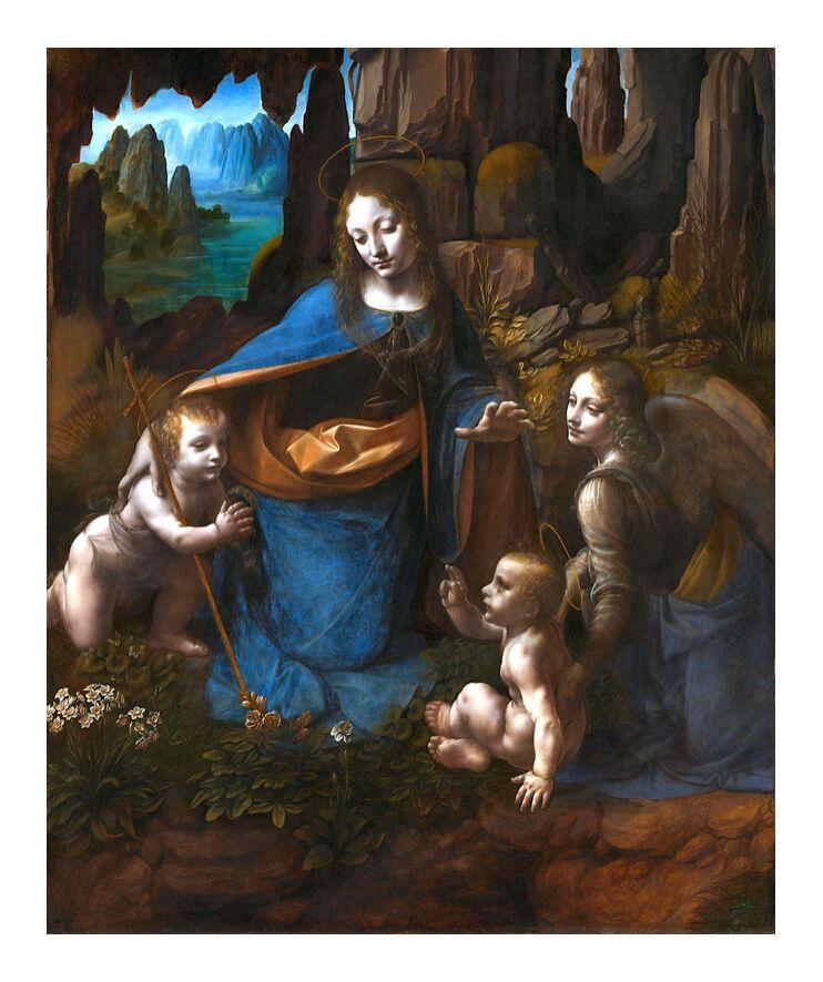 La Vierge des Rochers - Léonard de Vinci de AUX BEAUX-ARTS, Prodi Art, Leonard de Vinci, marie, ange, Christ, paradis, Jean le Baptiste