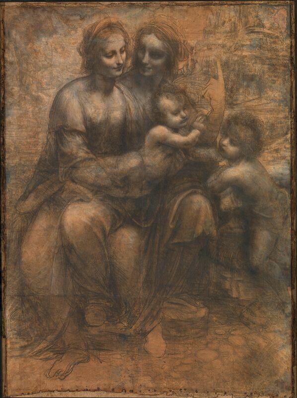 Sainte Anne, la Vierge, l'Enfant Jésus et saint Jean-Baptiste enfant - Léonard de Vinci de AUX BEAUX-ARTS Decor Image