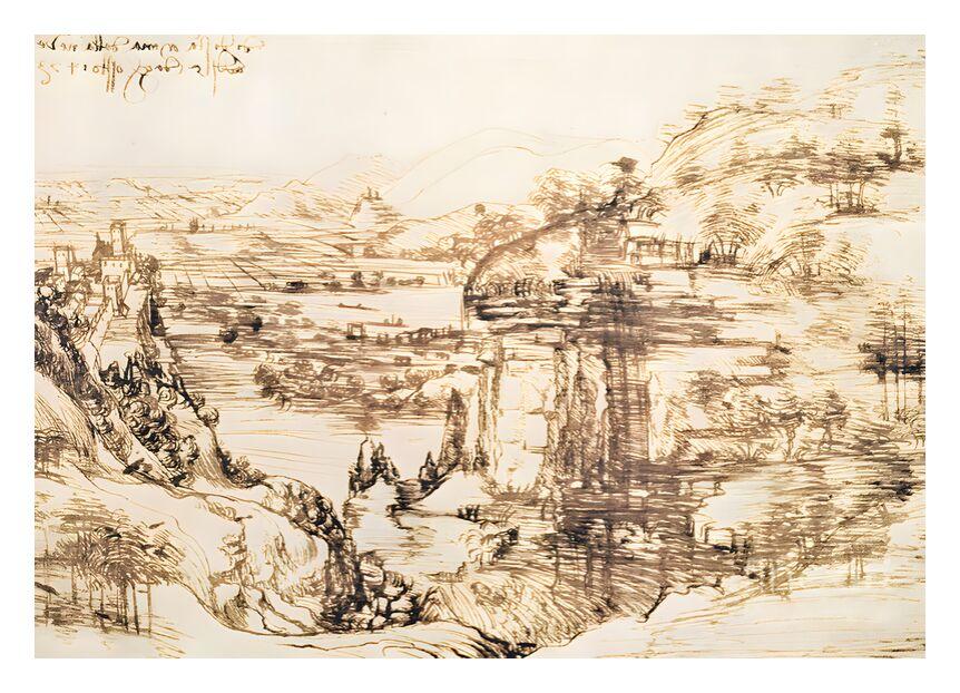 Paysage de la vallée de l'Arno - Léonard de Vinci, 1473 de AUX BEAUX-ARTS, Prodi Art, dessin au crayon, Italie, paysage, Léonard de Vinci