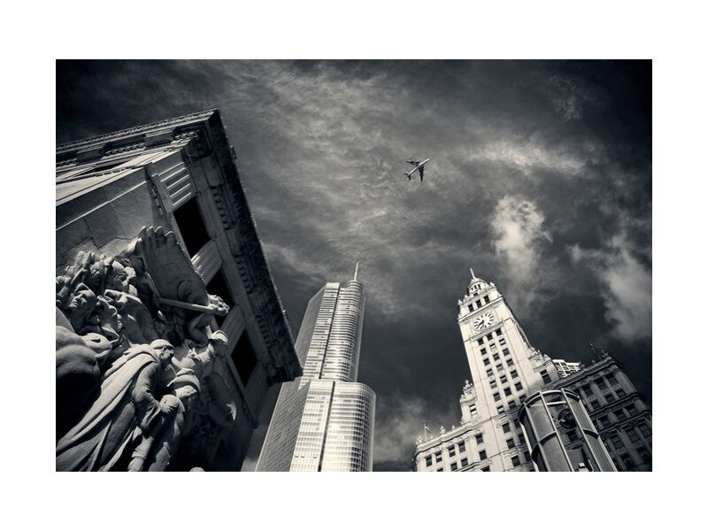 View from below from Pierre Gaultier, Prodi Art, skyscrapers, chicago, horizon, tall, buildings, downtown, michigan, street, architecture