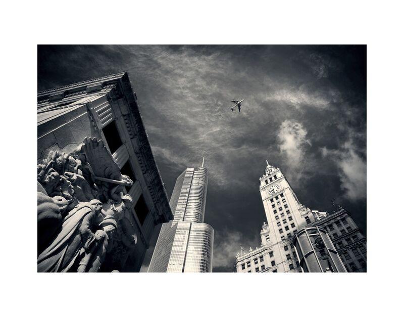 Vue d'en bas de Pierre Gaultier, Prodi Art, grattes ciels, Chicago, horizon, grand, bâtiments, centre ville, Michigan, rue, architecture