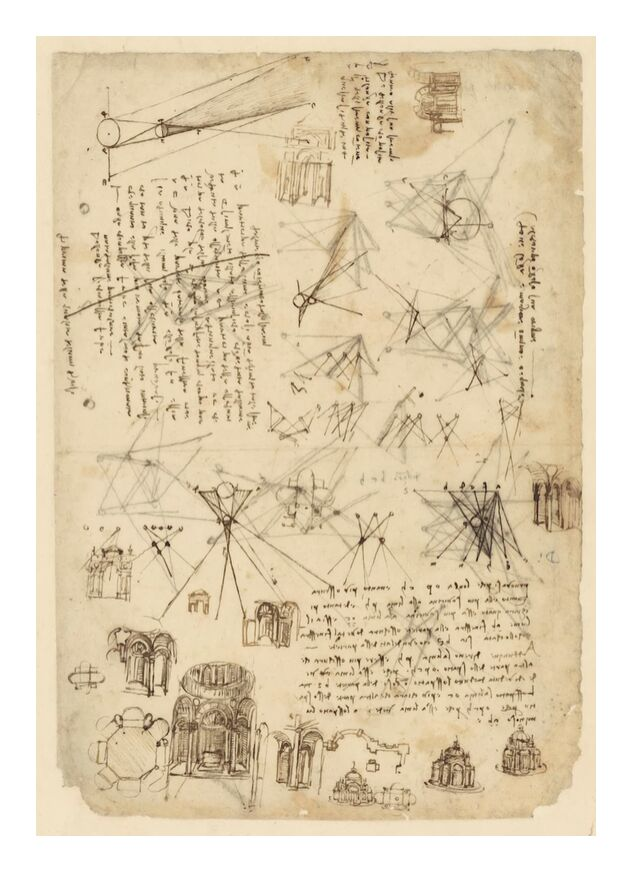 Codex de l'Atlantique - Léonard de Vinci de AUX BEAUX-ARTS, Prodi Art, schéma, dessin, Leonard de Vinci