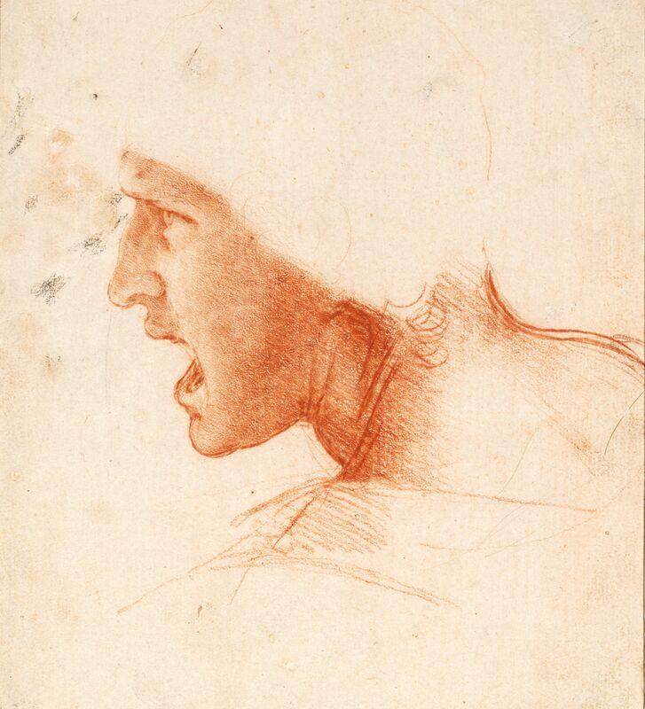 Étude recto pour la Tête d'un Soldat dans la Bataille d'Anghiari - Léonard de Vinci de AUX BEAUX-ARTS Decor Image