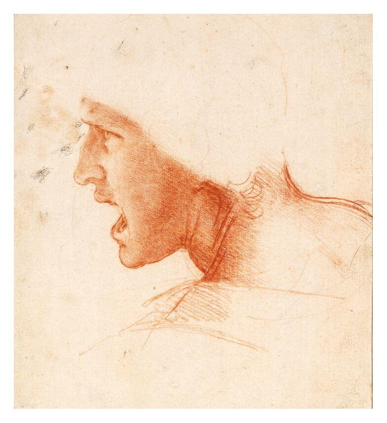 Recto Study for the Head of a Soldier in the Battle of Anghiari - Leonardo da Vinci from AUX BEAUX-ARTS, Prodi Art, portrait, Leonard de Vinci, soldier, War, pencil, drawing