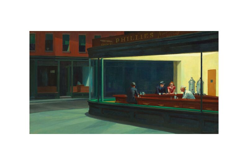 Nighthawks - Edward Hopper desde AUX BEAUX-ARTS, Prodi Art, Nueva York, noche, Edward Hopper, bar, café, calle