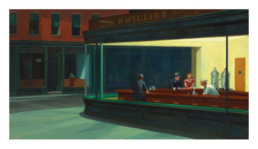 Nighthawks - Edward Hopper from AUX BEAUX-ARTS, Prodi Art, new york, night, Edward Hopper, bar, coffee, street