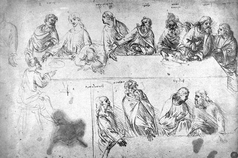 Preparatory Drawing For the Last Supper - Leonardo da Vinci from AUX BEAUX-ARTS Decor Image