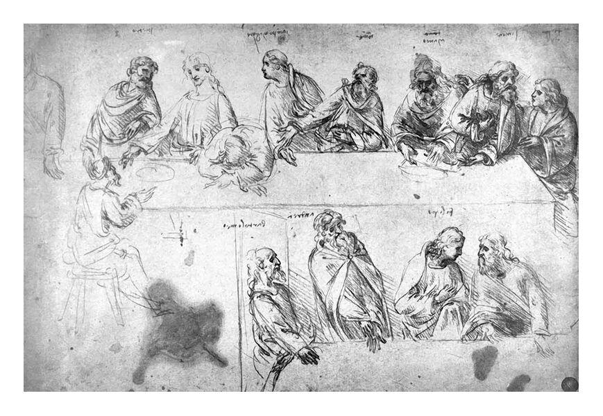Dessin Préparatoire de la Cène - Léonard de Vinci de AUX BEAUX-ARTS, Prodi Art, la cène, crayon, dessin, Leonard de Vinci, ébauche, Le dernier souper