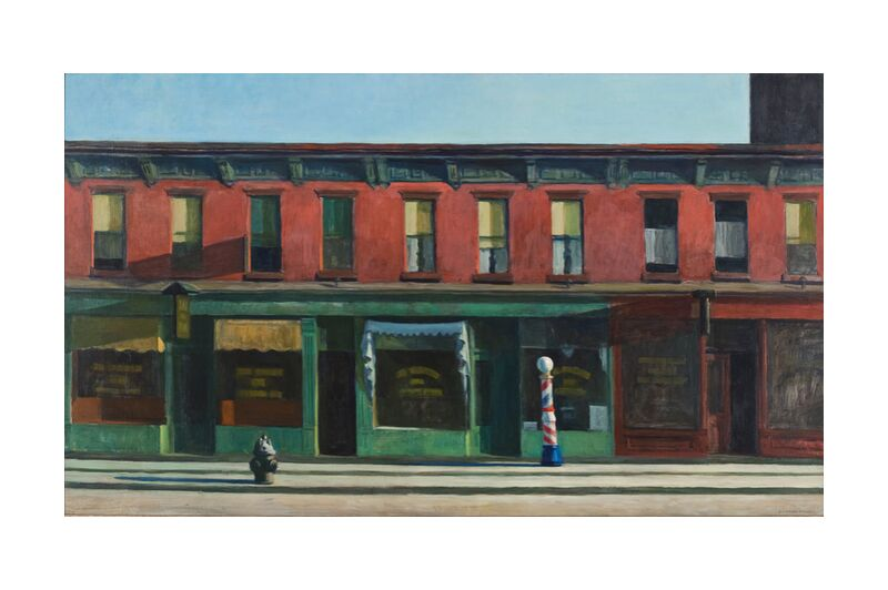 La Madrugada del Domingo - Edward Hopper desde AUX BEAUX-ARTS, Prodi Art, Edward Hopper, calle, pintura, Nueva York, tiendas