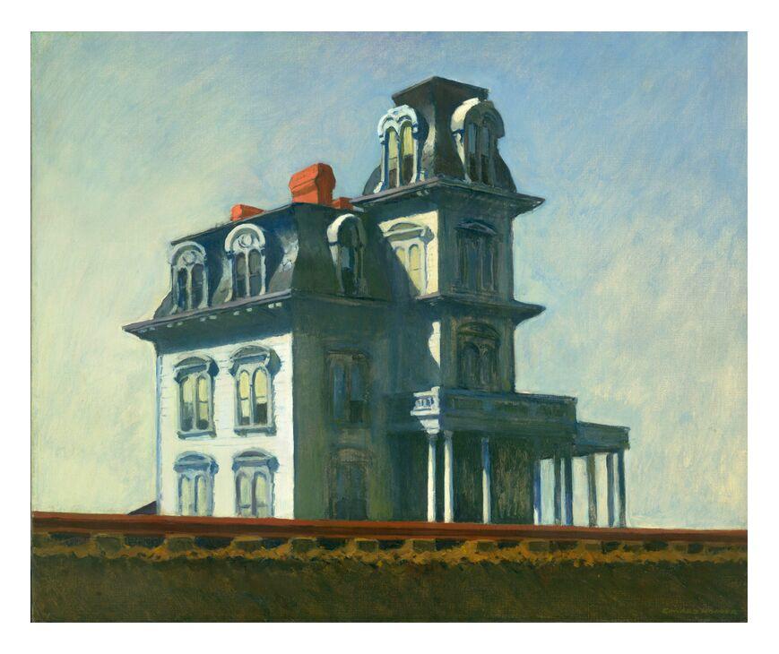 Maison près du Chemin de Fer - Edward Hopper de AUX BEAUX-ARTS, Prodi Art, maison, peinture, ciel, bleu, chemin de fer, Edward Hopper