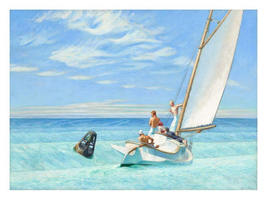 Ground Swell - Edward Hopper from AUX BEAUX-ARTS, Prodi Art, sail, Edward Hopper, Sun, summer, beach, sea, boat, sailors