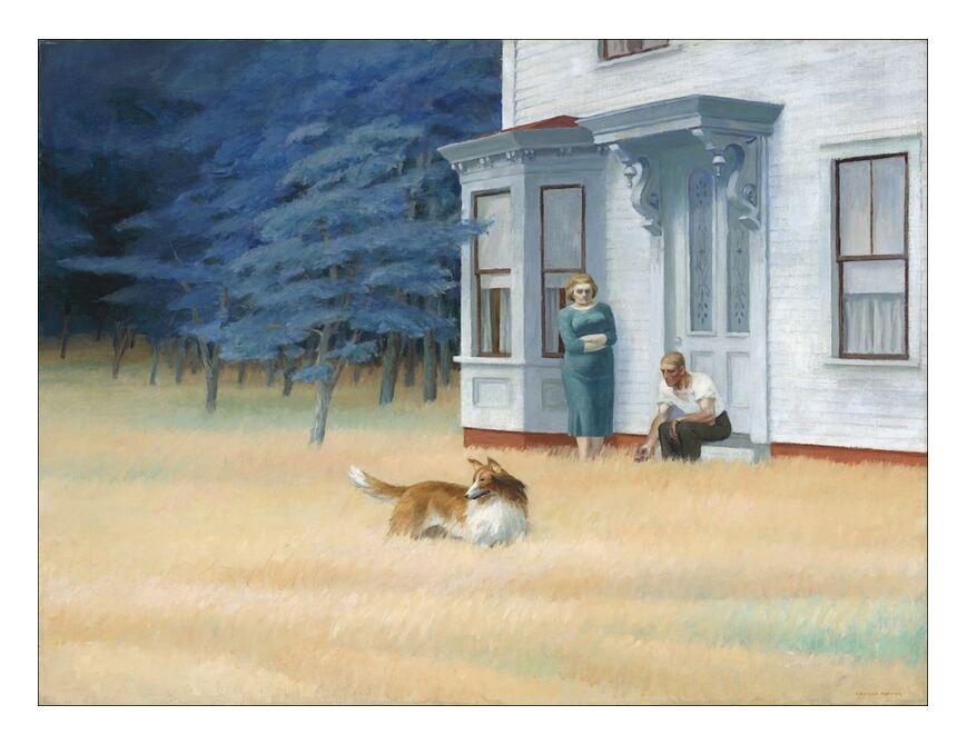 Soirée à Cape Cod - Edward Hopper de AUX BEAUX-ARTS, Prodi Art, Edward Hopper, peinture, maison, femme, homme, couple, bois, arbre, nature