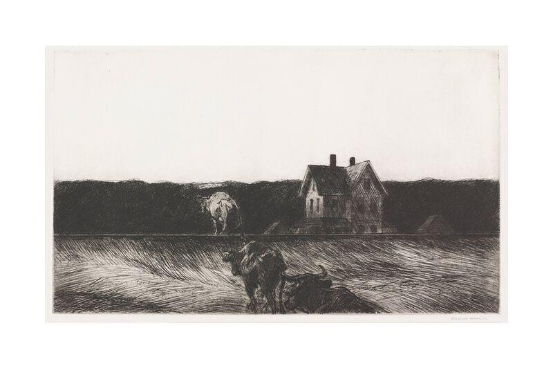 Paisaje Americano - Edward Hopper desde AUX BEAUX-ARTS, Prodi Art, Edward Hopper, paisaje, dibujo a lápiz, naturaleza, vaca, campesino, agricultura