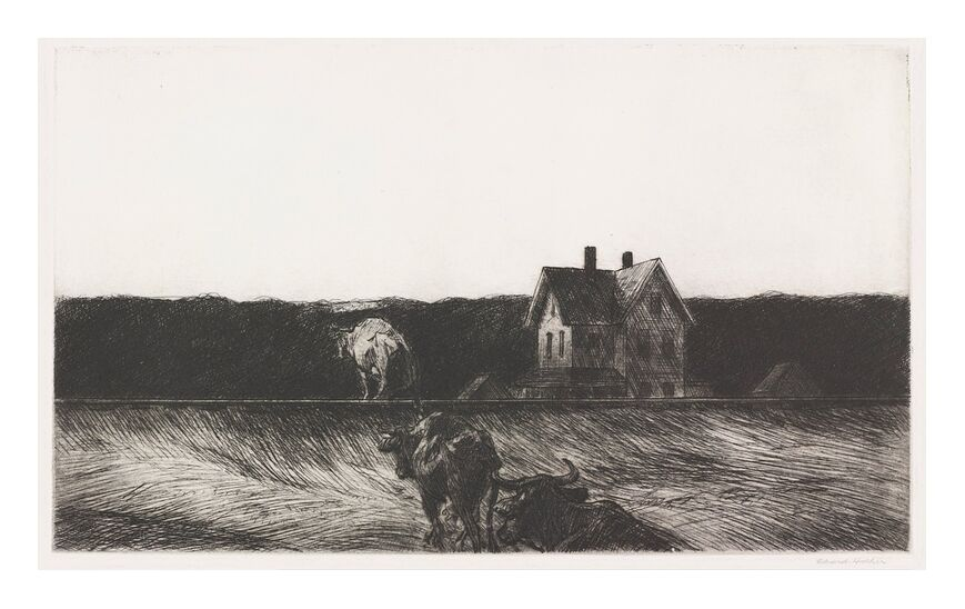 American Landscape - Edward Hopper from AUX BEAUX-ARTS, Prodi Art, Edward Hopper, landscape, pencil drawing, nature, cow, peasant, agriculture