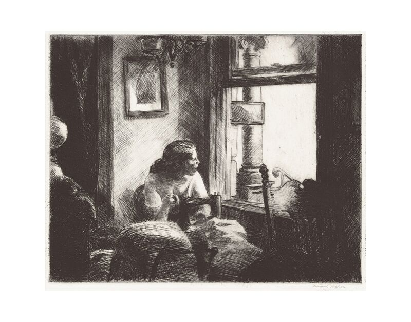 Interior del East Side - Edward Hopper desde AUX BEAUX-ARTS, Prodi Art, Edward Hopper, mujer, alta costura, Nueva York