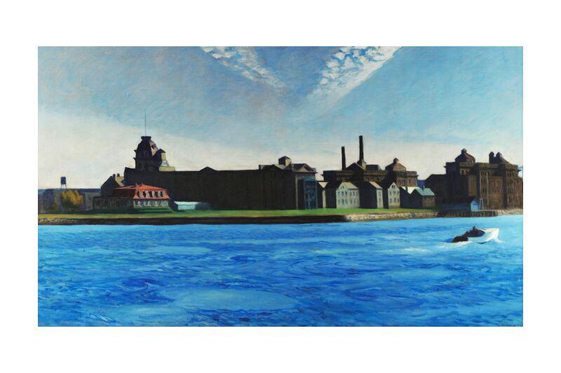 Isla de Blackwell - Edward Hopper desde AUX BEAUX-ARTS, Prodi Art, Edward Hopper, isla, barco, Nueva York, fábrica, cielo, azul