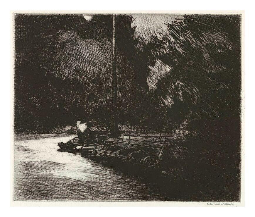 Nuit dans le Parc - Edward Hopper de AUX BEAUX-ARTS, Prodi Art, Edward Hopper, nuit, parc, lecture, journal