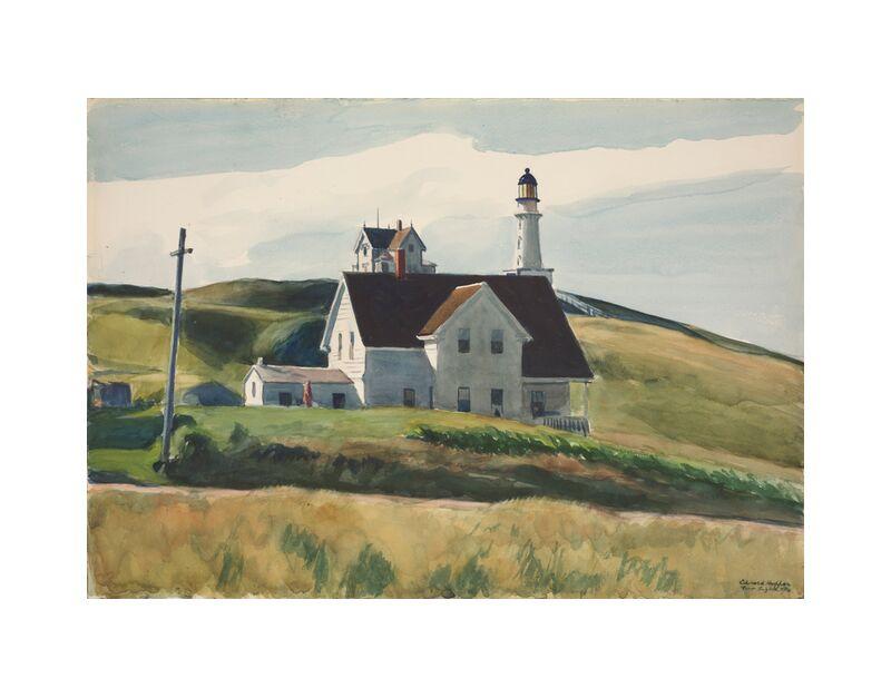 Colina y Casas, Cape Elizabeth, Maine - Edward Hopper desde AUX BEAUX-ARTS, Prodi Art, Edward Hopper, casas, paisaje, colinas, prados, faro, campo