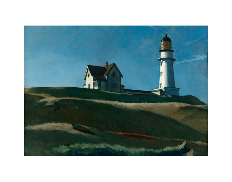 Colina del Faro - Edward Hopper desde AUX BEAUX-ARTS, Prodi Art, Edward Hopper, faro, colinas, paisaje, prado