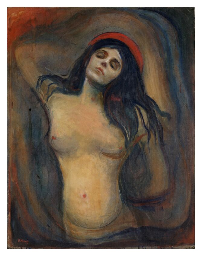 Madonna - Edvard Munch from AUX BEAUX-ARTS, Prodi Art, Edvard Munch, painting, woman, love, death, birth, sexuality