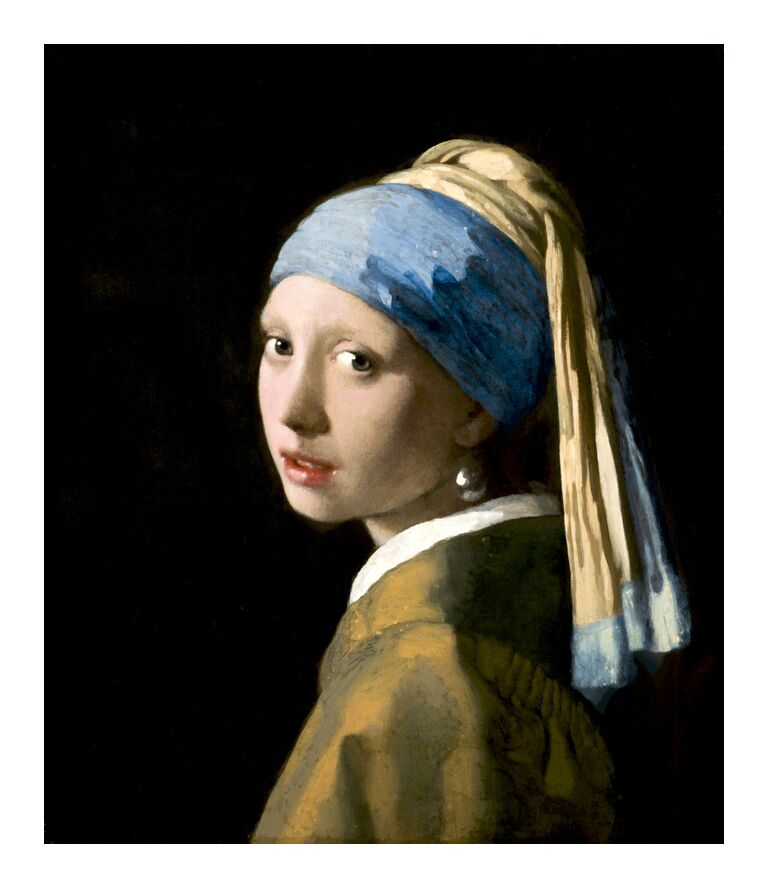 Girl with a Pearl Earring - Johannes Vermeer from AUX BEAUX-ARTS, Prodi Art, young lady, portrait, beaded, face, woman, Johannes Vermeer