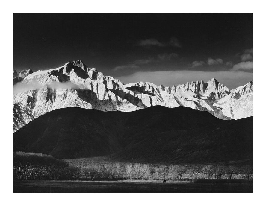 Winter Sunrise from Lone Pine, Sierra Nevada - Ansel Adams 1944 from AUX BEAUX-ARTS, Prodi Art, adams, Sierra Nevada, USA, lake, forest, landscape, black-and-white, sky, ANSEL ADAMS, mountains