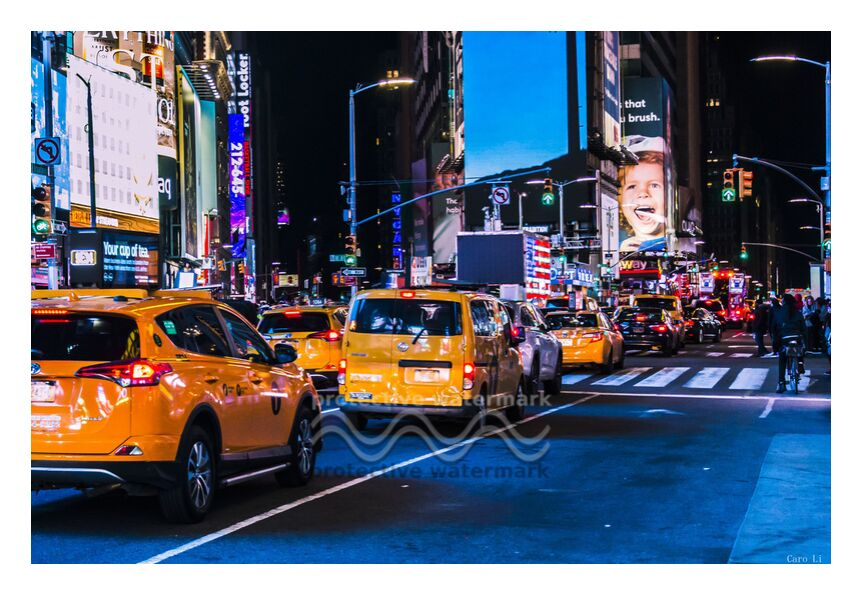 NY Street 3 de Caro Li, Prodi Art, Etats Unis, New-York de nuit, USA, ville, NY, New York, Cher Li