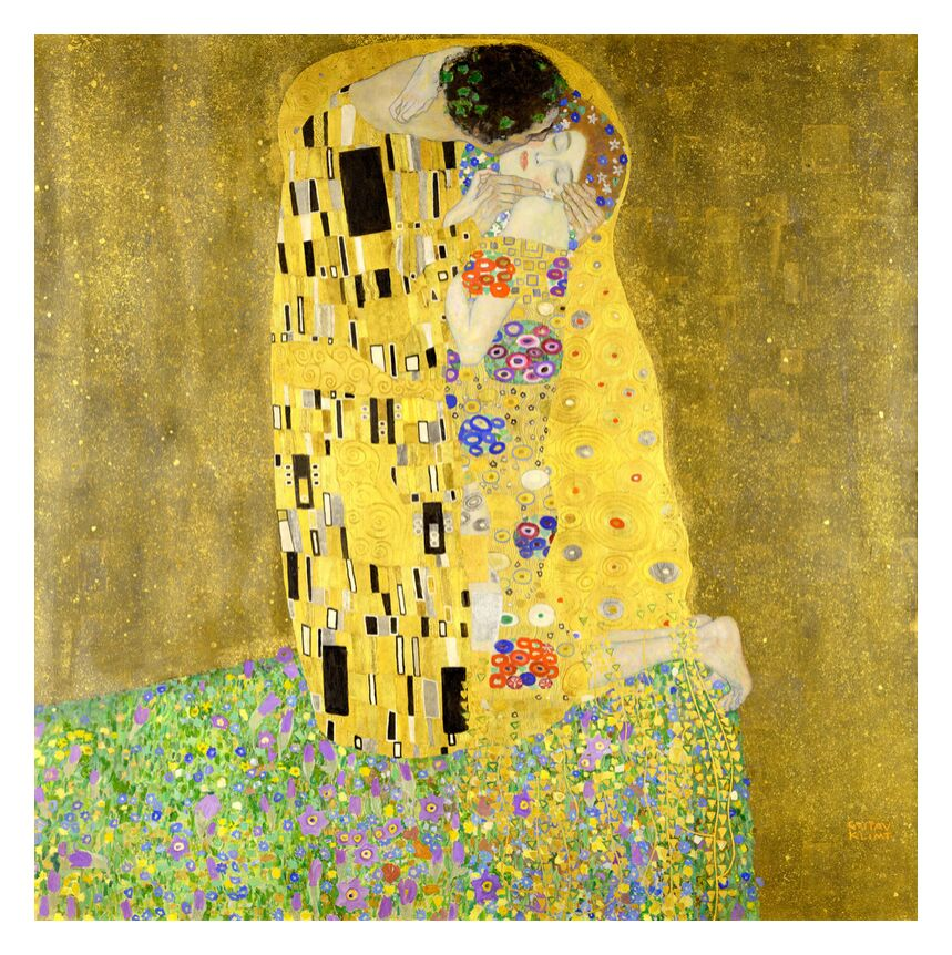 The Kiss - Gustav Klimt from AUX BEAUX-ARTS, Prodi Art, painting, dress, love, couple, woman, man, kiss, Art Nouveau, KLIMT