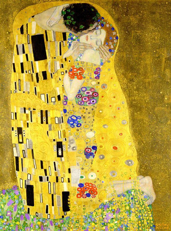 Details of the artwork The kiss - Gustav Klimt desde AUX BEAUX-ARTS Decor Image