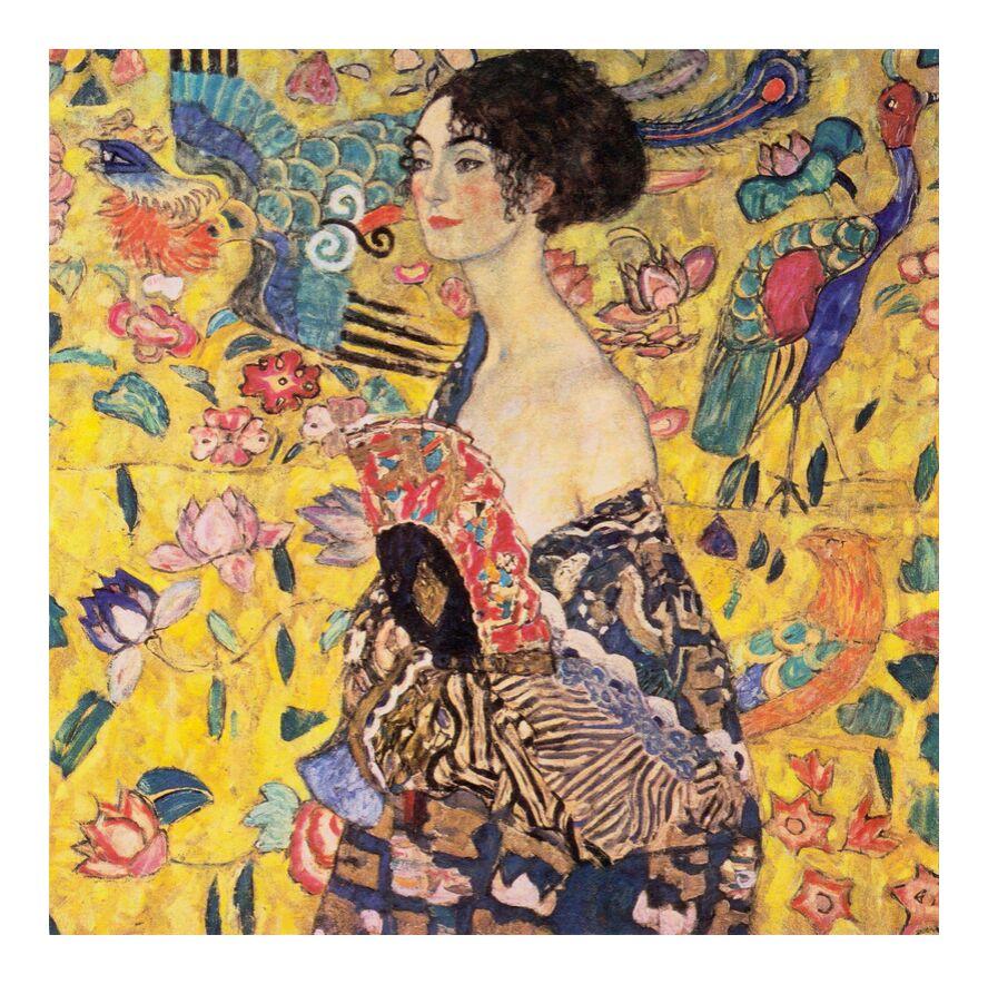 The Lady with a Fan - Gustav Klimt from AUX BEAUX-ARTS, Prodi Art, Art Nouveau, woman, painting, face, portrait, range, KLMIT