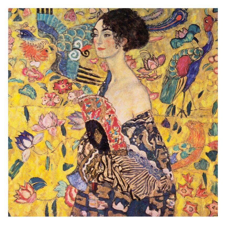 La dame à l'éventail - Gustav Klimt de AUX BEAUX-ARTS, Prodi Art, éventail, portrait, visage, peinture, femme, art nouveau, KLIMT