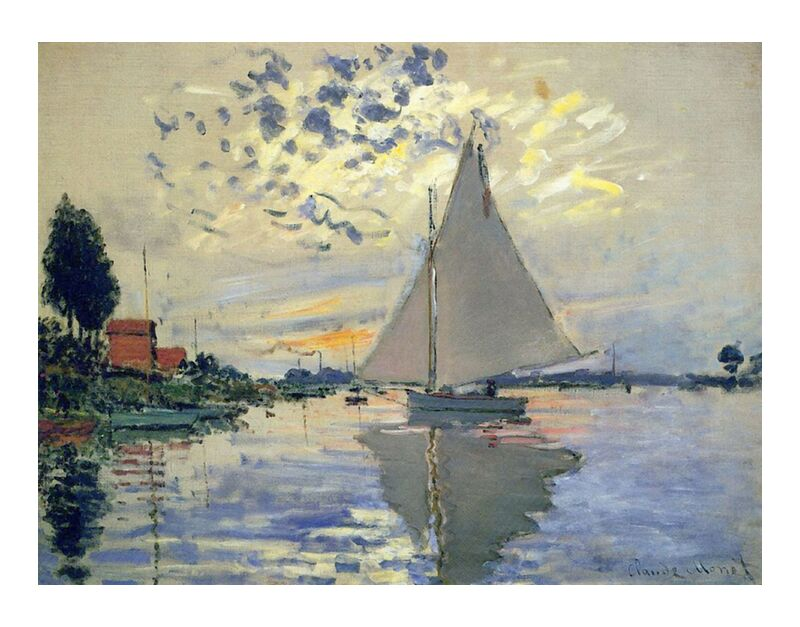 Sailboat at Le Petit-Gennevilliers - CLAUDE MONET 1874 desde AUX BEAUX-ARTS, Prodi Art, monet, mar, Puerto, sol, pintura, barco, CLAUDE MONET, ola