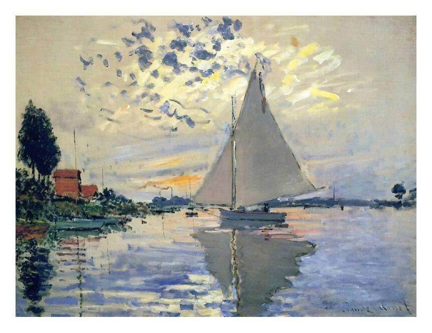 Sailboat at Le Petit-Gennevilliers - CLAUDE MONET 1874 from AUX BEAUX-ARTS, Prodi Art, monet, sea, port, Sun, painting, boat, CLAUDE MONET, wave