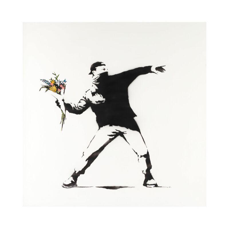 Love Is in the Air - BANKSY desde AUX BEAUX-ARTS, Prodi Art, Banksy, amor, revolución, aire, pintada, arte callejero