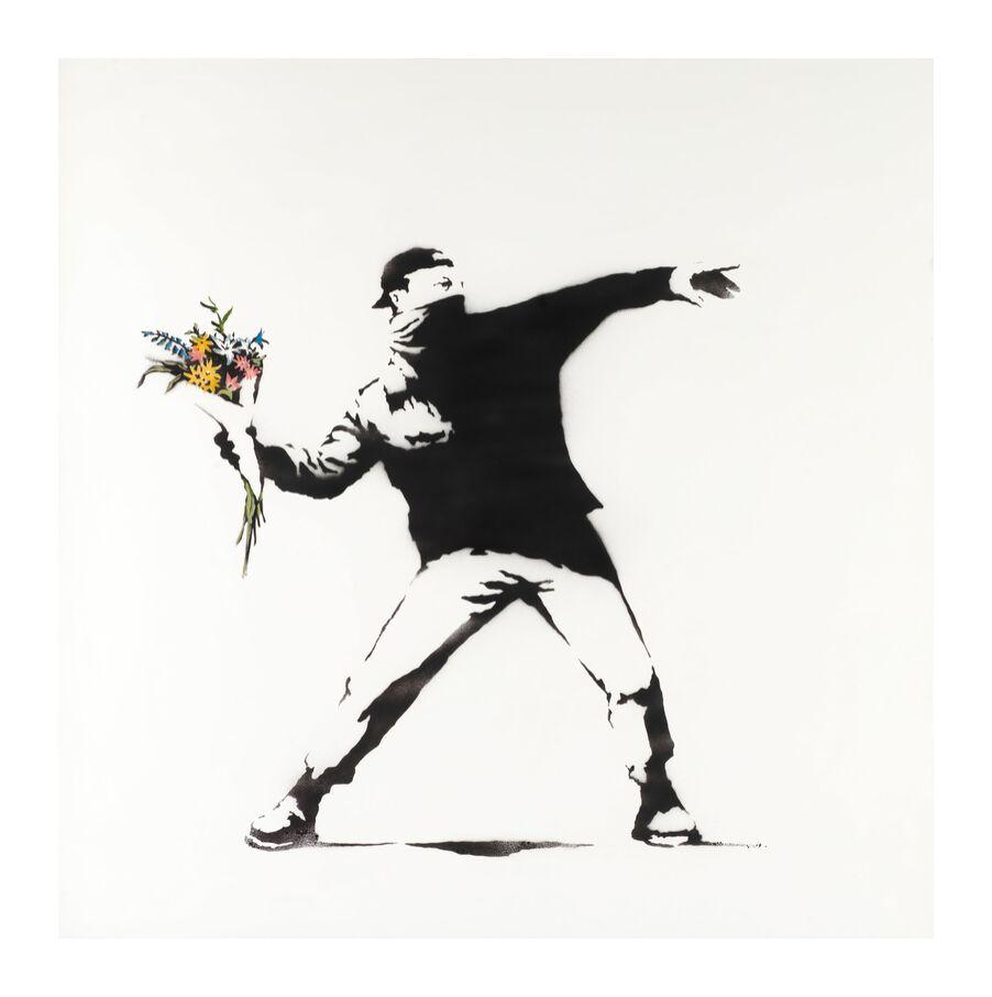 Love Is in the Air - BANKSY from AUX BEAUX-ARTS, Prodi Art, banksy, love, revolution, air, graffiti, street art