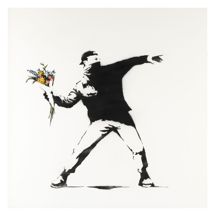 Love Is in the Air - BANKSY from AUX BEAUX-ARTS, Prodi Art, banksy, love, revolution, air, graffiti, street art
