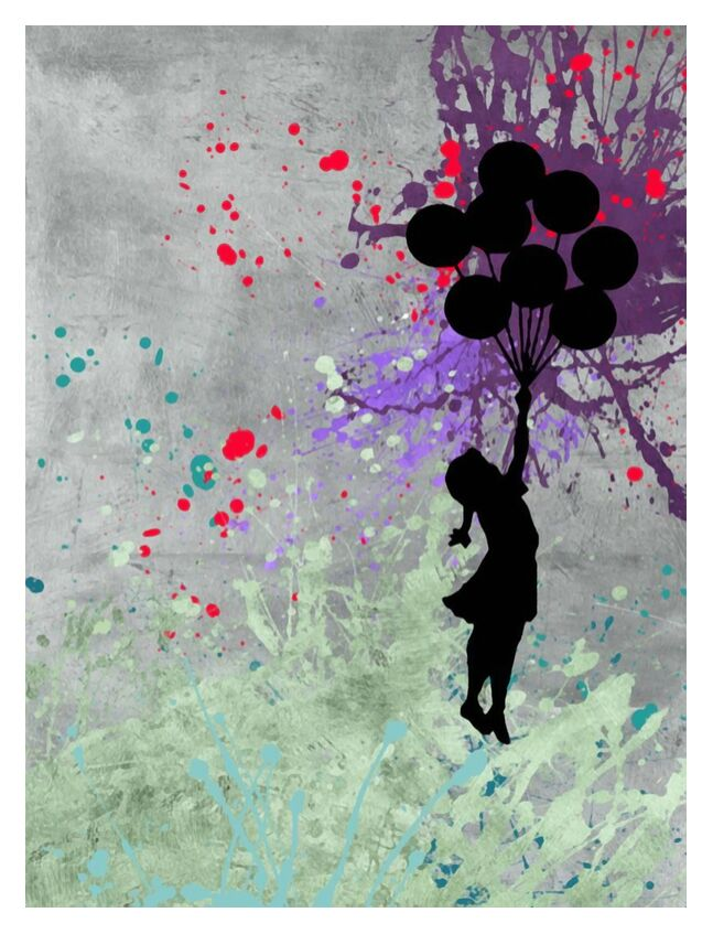 Flying Balloon Girl - BANKSY from AUX BEAUX-ARTS, Prodi Art, flying balloon girl, balloons, girl, street art, art, painting, banksy
