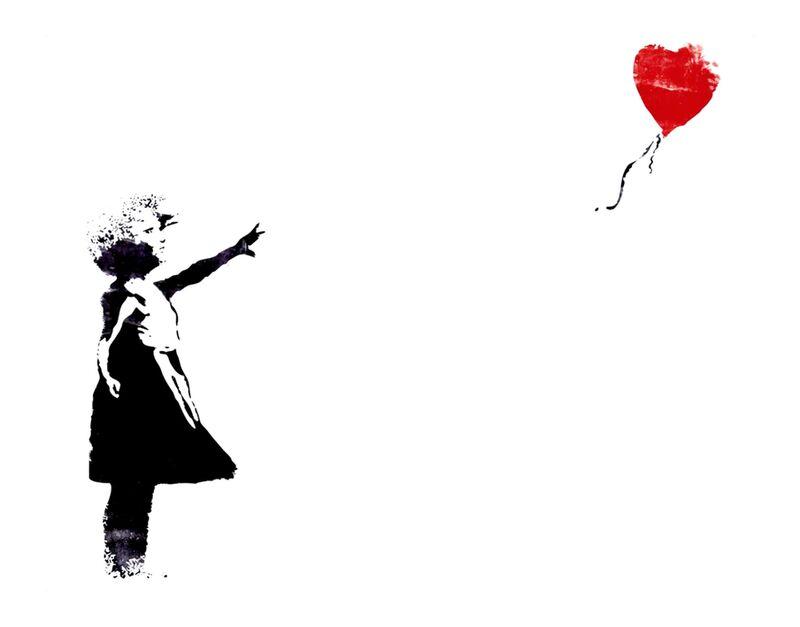 Heart Balloon - BANKSY desde AUX BEAUX-ARTS, Prodi Art, Banksy, globo, corazón, niña, arte callejero, pintada, pintado