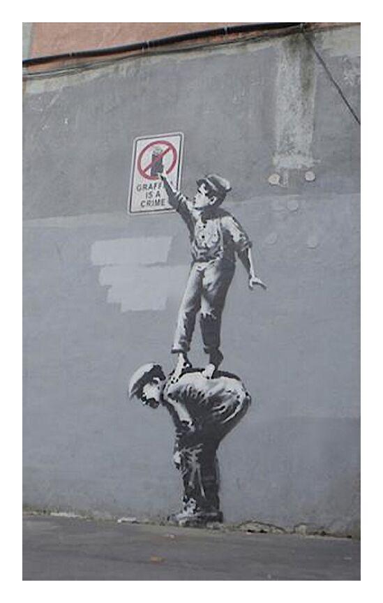 Graffiti Is a Crime - BANKSY from AUX BEAUX-ARTS, Prodi Art, banksy, street art, graffiti, boys, crime