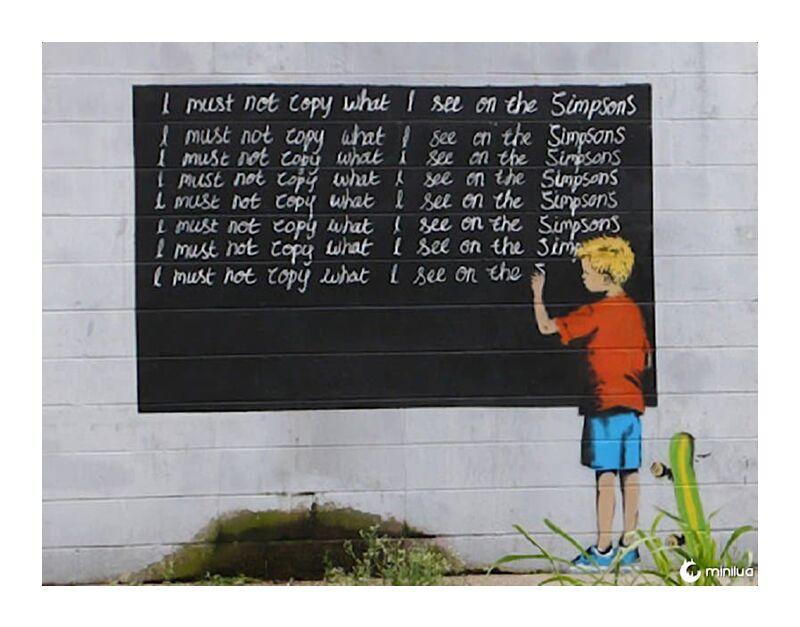 Simpsons - BANKSY desde AUX BEAUX-ARTS, Prodi Art, Banksy, arte callejero, colegio, simpsons, castigo