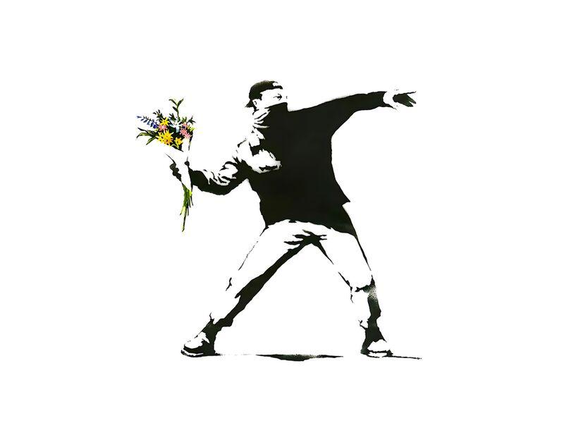 Flower Chucker - BANKSY desde AUX BEAUX-ARTS, Prodi Art, Banksy, arte callejero, flor, pintada, lanzacohetes