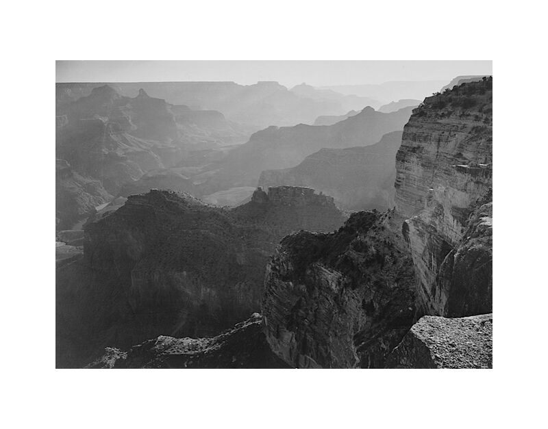 """Vue sur le """"Grand Canyon National Park"""" en Arizona - Ansel Adams desde AUX BEAUX-ARTS, Prodi Art, Valle, montañas, blanco y negro, ver, paisaje"""
