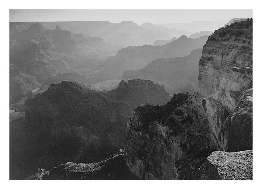 """Vue sur le """"Grand Canyon National Park"""" en Arizona - Ansel Adams from AUX BEAUX-ARTS, Prodi Art, valley, mountains, black-and-white, view, landscape"""